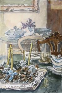 Bodegón con Corona de Adviento por el pintor Pedro Barahona