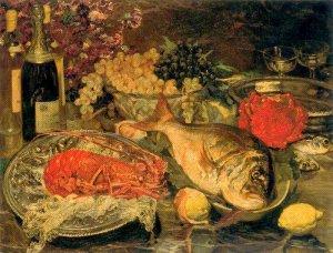 Bodegón navideño con pescados, 1930-1934