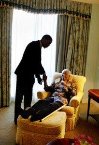 Fotografía realizada por el asistente de Obama, David Katz en un viaje a Sudáfrica cuando aún era senador en el año 2005. Actualmente forma parte de la decoración de La Casa Blanca.
