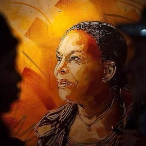 Magnífico retrato mural de Christiane Taubira
