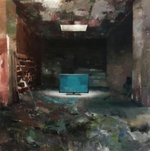 """Juan Gallego. """"La marca España. Sala de Prensa."""" 2014. Óleo sobre lienzo. – Galería Moret Art (A Coruña)."""