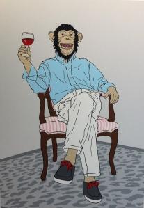 "Héctor Francesch. ""Gentlemonkey"", 2014. Acrílico sobre lienzo. - Galería Moret Art (A Coruña)."