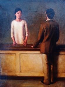 """Manolo Páez """"La Dependienta"""", 2015. Óleo sobre tela. - Galería Val i 30 ( Valencia)."""