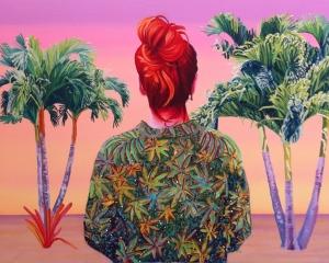 """Alejandra Atarés: """"Lindsay Lohan en Miami"""", 2014. Óleo, acrílico y collage sobre tela – Galería Balaguer (Barcelona)"""