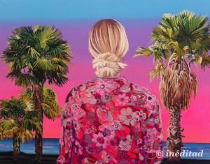 """Alejandra Atarés """"Paris Hilton en Miami"""", 2014. Óleo, acrílico y collage sobre tela."""