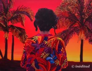 """Alejandra Atarés """"Cristina en Miami"""", 2014. Óleo, acrílico y collage sobre tela."""