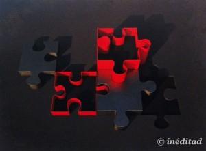 """Alberto Morago """"Puzzle Rojo y Cromo"""". Óleo sobre madera."""