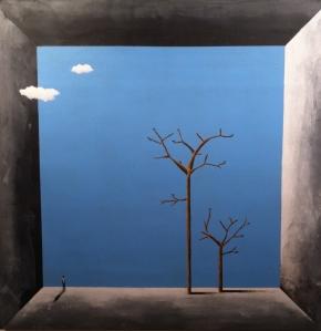 """Néctor Mejía. """"Los lugares que viven en mi casa""""(2014). Óleo sobre lienzo."""