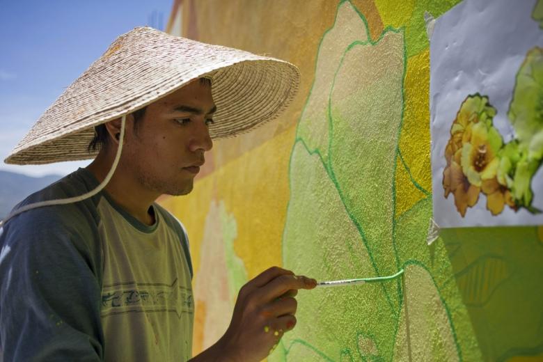 Irving Trejo, del grupo de artistas Germen Colectivo.