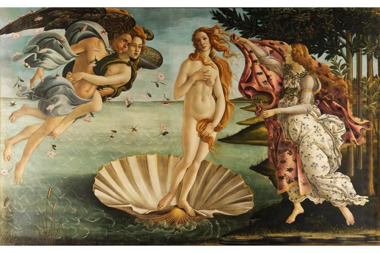 """Sandro Botticelli """"El Nacimiento de Venus"""" (1482-1485). Esta obra raramente sale fuera de la Galería de Los Uffizi en Florencia."""