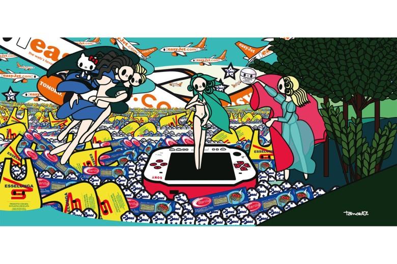 """Tomoko Nagao es el autor de la obra más contemporánea de la exposición. """"El nacimiento de Venus con Baci, Esseluga, Barilla, PSP y EasyJet"""". Una caricatura posmoderna de Venus rodeada de productos italianos. Año 2012."""