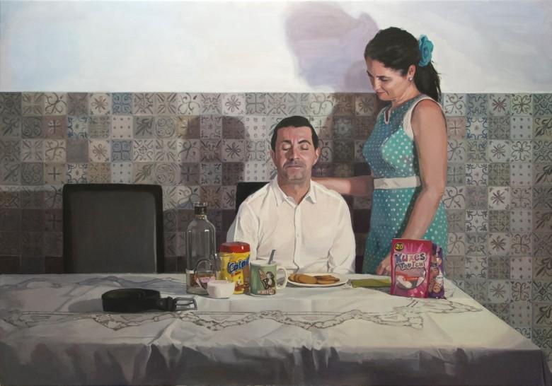 """""""El Desayuno"""", 2015. Óleo sobre lienzo. Obra Pre-Seleccionada en el National Portrait Gallery Award 2016."""