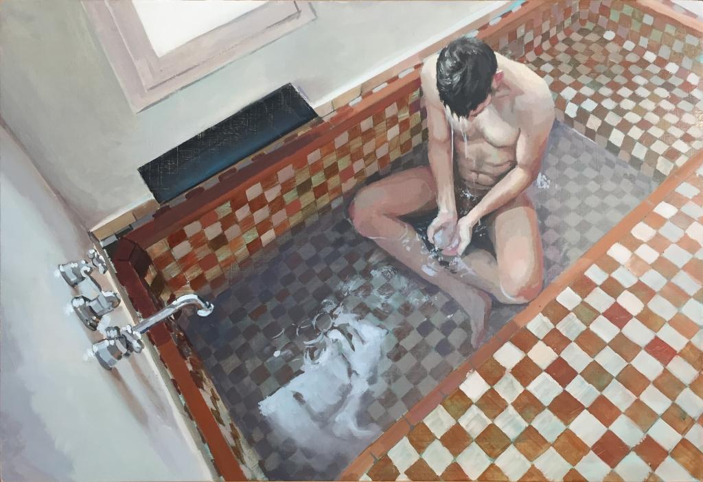 """""""Hombre en la bañera I"""", 2015. Óleo sobre tabla."""