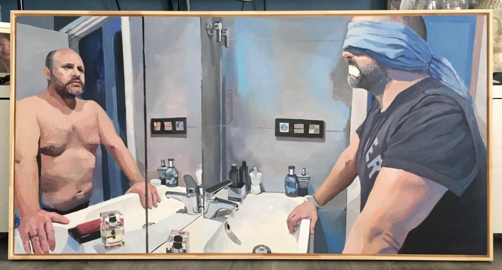 """La discapacidad del que mira"", 2014. Óleo sobre tabla."