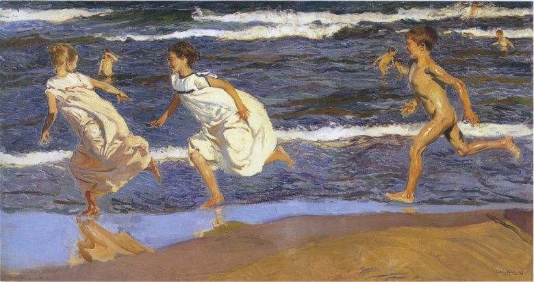 """Joaquín Sorolla, """"Niños corriendo por la playa"""", 1908."""