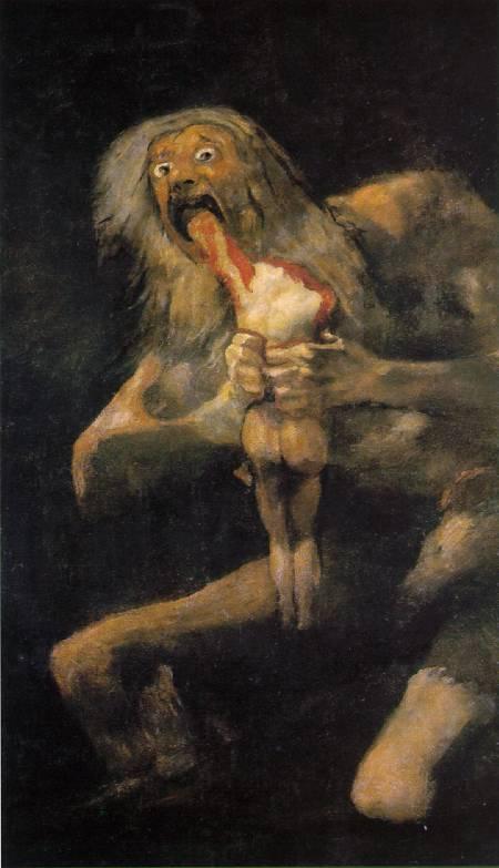 """Francisco de Goya, """"Saturno devorando a su hijo"""", pintura entre 1820 y 1823. Museo del Prado, Madrid."""