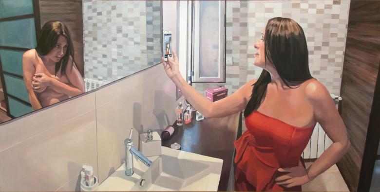 """Selfie"", 2015. Óleo sobre madera."