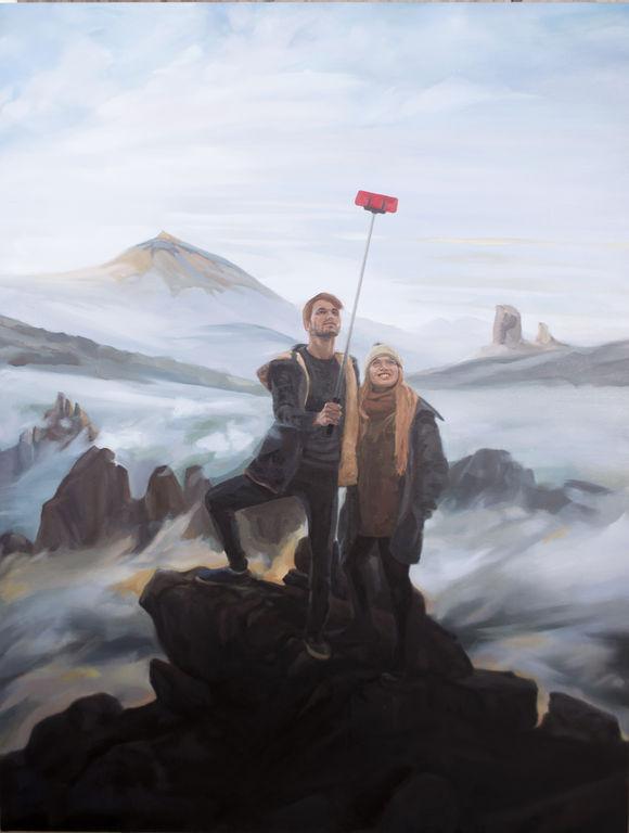 008 Gonzalo Sabina. Selfie Sobre Mar de Nubes. Óleo sobre tela