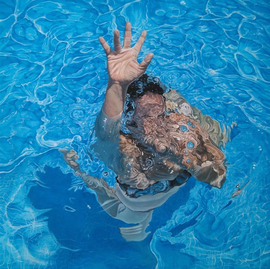 Pool X 54x54 óleo-lienzo 2018