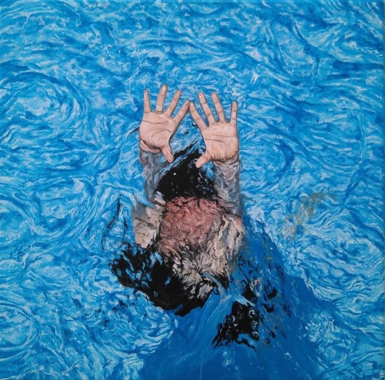 Pool XIII 20x20 óleo-lienzo 2019
