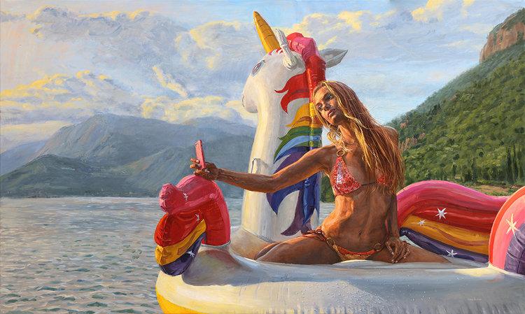 006 Michele del Campo The Unicorn Oil on Line 2018 Arte Online